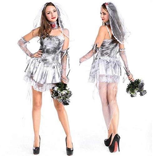 KAIDILA Mesh-Dark Ghost Bride Halloween weiblichen Erwachsenen Kostüm Cosplay Disco Nacht Bar Ds Performance - Kostüm Vampir Disco