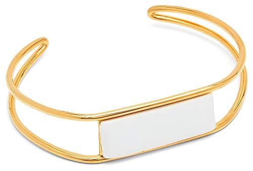 Louise Kragh Damen Armreif Gold Hang Around (White): Mit Rechteck aus Porzellan elegant und feminin 925 Silber hochglänzend vergoldet - BHAN0202WHIg