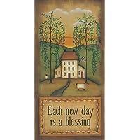 Ogni giorno è disponibile una nuova benedizione di Lewis, Kim–Stampa artistica su tela e carta, (Folk Primitive Decor)