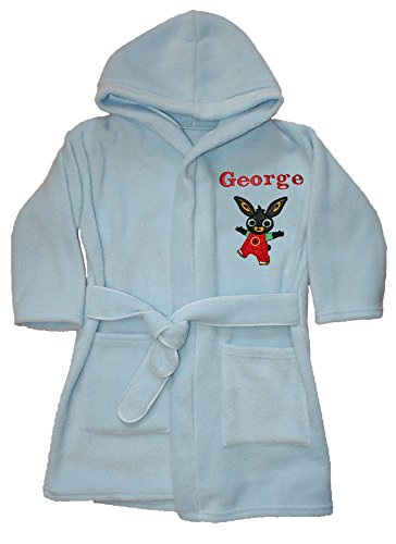 Price comparison product image Boys Bing Bunny Applique Luxury Personalised Super Soft Fleece Dressing Gown/Bath Robe (2-3)