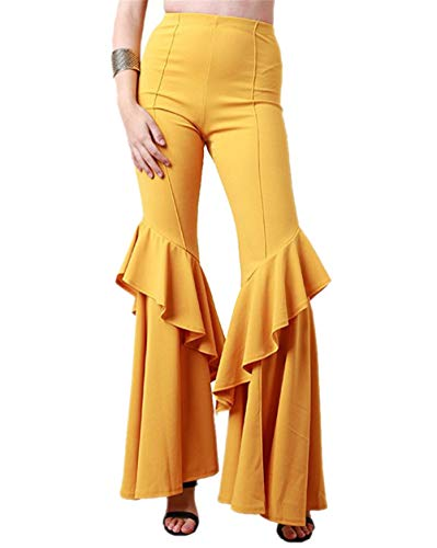 Jahre 70er Stil Kostüm - GODGETS Hippie Schlaghose für Damen - Schöne Disco Hose im 70er Jahre Hippie Stil für Damen Schlager Mottoparty oder für Fasching und Karneval,Gelb,XL