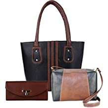 Flora Premium PU Leather Women's Handbag With Sling Bag And Hand Clutch Combo Of 3 (BlackIIITan_FLORA-156)