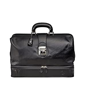 Maxwell Scott® Luxury Italian Leather Doctor Bag - Large (DonniniL), Night Black