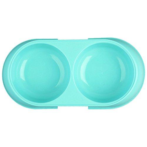 SODIAL(R) Double Plastic Pet Dog Cat Water Dish Anti No Slip Feeder Dispenser Plate Bowl, Sky Blue