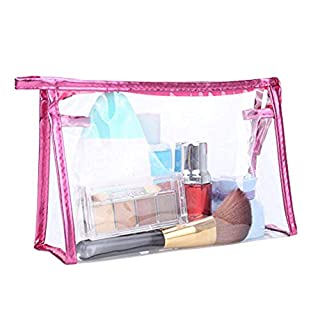 ANGGO Women Plastic PVC Clear Transparent Cosmetic Makeup Bag Travel Zipper Storages,Toiletry Bags,Luggage Cosmetic Cases(red)
