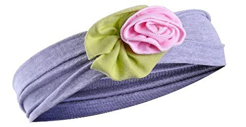 Top Baby Cotton Girls, Babies Rose And Flower Hairband - Grey, Small Pink Rose