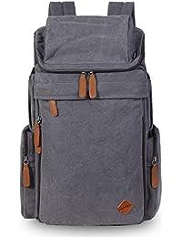 ENTCY Mochila Hombre Mujer Lona Vintage Escolar Mochila Portatil 15.6  Pulgadas 30L Backpack Retro Senderismo Viaje d36273db9da1b