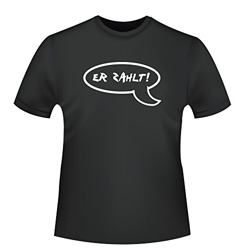 Er zahlt Sprechblase, Herren T-Shirt - Fairtrade - ID104491 Schwarz