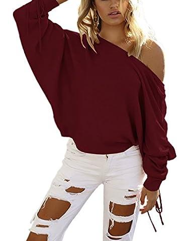 Femme Automne-Hiver Sexy Col Bateau Pull Épaule Dénudé Chandails Lâche Manches Longues Casual Pull-over En Laine Sweater Jumper Tricots Sweat-shirt Monissy