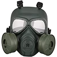 Aesy Máscara de Gas, Deportes Al Aire Libre Completo Cubierto Casco Ordenador Personal Lente Ajustable