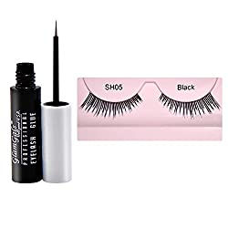 GlamGals Stylish Black Eye Lashes with Glue Transparent 6.5 ml