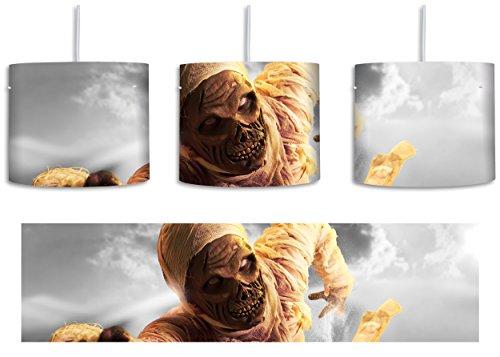 hungrige Mumie greift an schwarz/weiß inkl. Lampenfassung E27, Lampe mit Motivdruck, tolle Deckenlampe, Hängelampe, Pendelleuchte - Durchmesser 30cm - Dekoration mit Licht ideal für Wohnzimmer, Kinderzimmer, Schlafzimmer