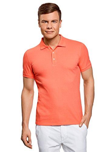 oodji Ultra Herren Pique-Poloshirt, Orange, De 52-54/L (Reißverschluss Piqué-polo)