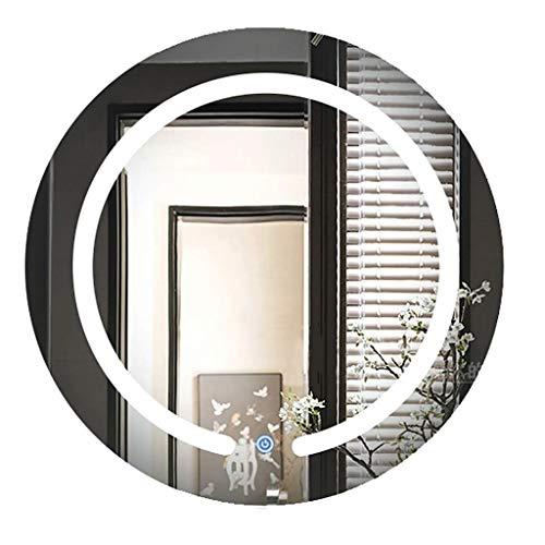 2-licht-wand-tasche (ZSN Runder LED beleuchteter Badezimmer-Spiegel Moderner an der Wand befestigter Kosmetikspiegel mit 2 Lichtern Aluminiumzurückrahmen 3 Größen verfügbar (Size : 80cm))