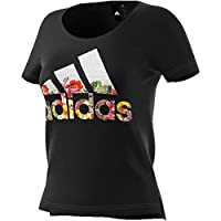 Adidas Women's Badge of Sports Flower Graphic Short Sleeve T-Shirt, Black, M