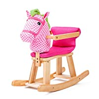 LGP Child Wooden Rocking Horse Animal Rocker Plush Baby Rocking Horse with Music Toddler Balance Training Toy Gift