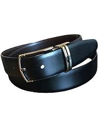 Perry Ellis Men's Reversible Leather Black Brown Dress Belt No Stitch 38