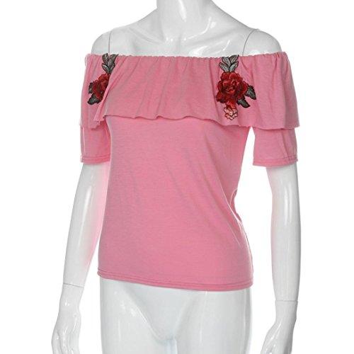 OverDose Damen Sommer Oberteile Pulli Shell weg vom Schulter beiläufige kurze Hülsen Blumenstickerei T-Shirt bluse Casual Tops Z-Rosa