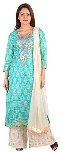 SAKSHI by JJS Women's Kota Silk Salwar Suit Set (TC-3008D--L, Turquoise, Large)