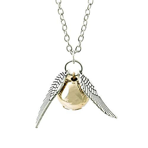 Legitta Euidditch Fliegend Snitch Gold kette mit Goldener Schnatz Anhänger Fanartikel Silber Halskette Geschenk Schmuck für Fans