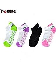 Kottle de silicona antideslizante 4 pares punto algodón Yoga Pilates calcetines para mujer