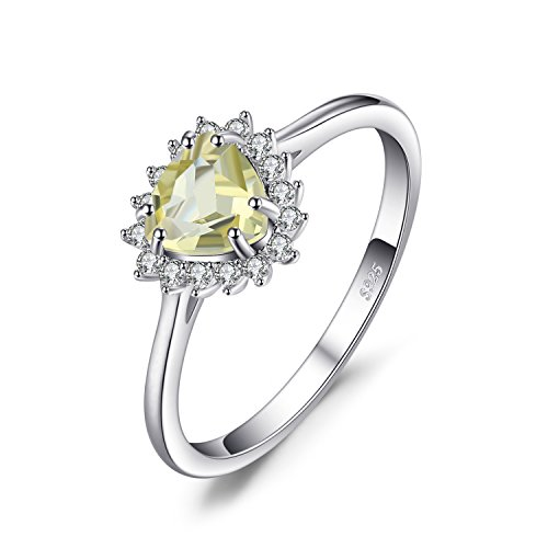 JewelryPalace Klassische 0.85ct Echte Zitrone Quarz Halo Ring 928 Sterling Silber