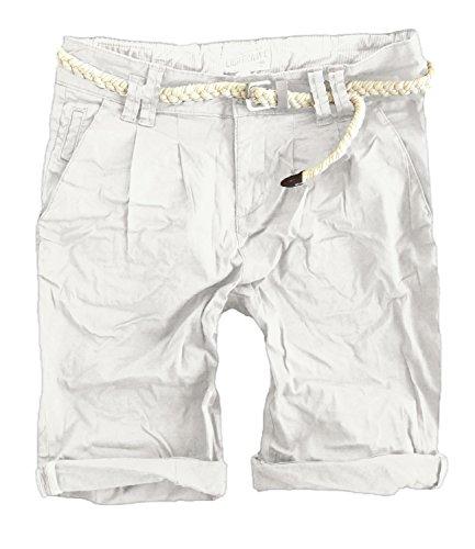 Eight2Nine by Fresh Made Damen Bermuda Chino kurze Hose mit Gürtel MOD 6008 Offwhite