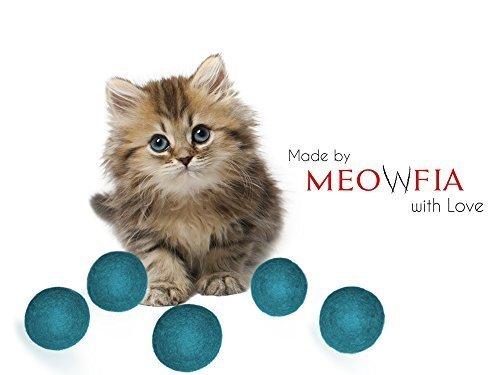 Meowfia Wolle Ball Toys–6er Pack von Sicher für Katzen und Kleine Hunde Bälle–3,8cm gefilzter Wolle Katze und Hund Spielzeug–Silent–Mini Tennis Bälle–6er Pack (Katze Mini-tennis-ball Spielzeug)