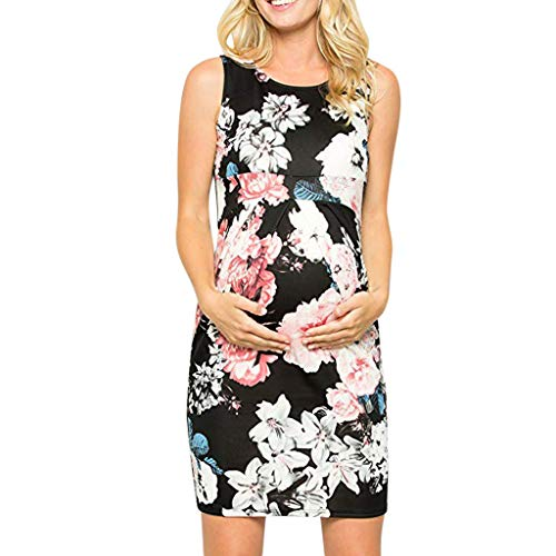 Fearless Come Damen Umstandskleid Sexy Sommerkleid für Schwangere Seite Rüschen Umstandsmode Print Unterwäsche Kleid