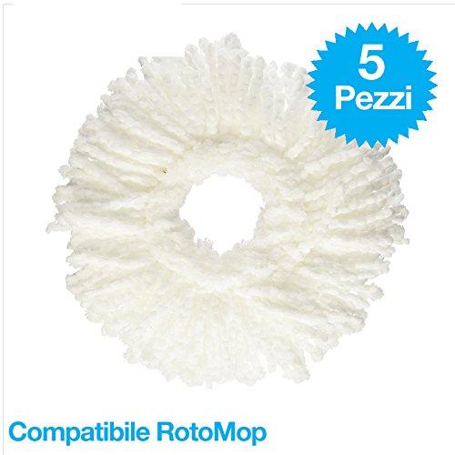 ZERO81 081 Store - Ricambio Compatibile Panno Tondo 5 Pezzi in Microfibra per Rotomop Super Five Gira STRIZZA 360-
