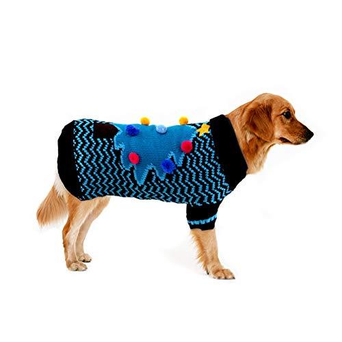 Cuteboom Hundepullover, Weihnachtsbaum, warm, für den Winter, für Kleine bis mittelgroße Hunde, Katzen, Welpen, Blau, S (Halloween-kostüme Lustige Laufende)
