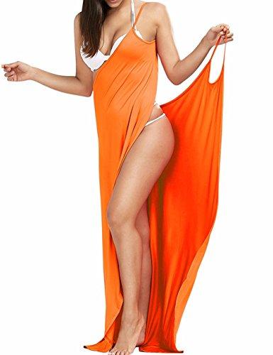EMMA Donne Sexy con Lo Scollo a V Spaghetti Cinghia Scollato Colore Solido Pareo Vestito Avvolgente e Long Beach Asciugamano Bikini Insabbiamenti S-XXL Arancione