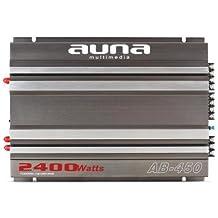 Auna AB-450 - Amplificador HiFi para coche (4 canales, varias conexiones de entrada y salida, filtro de paso bajo ajustable de 50 a 250Hz, diseño deportivo, 2400W en mono, 4 x 90W RMS) Color Metálico