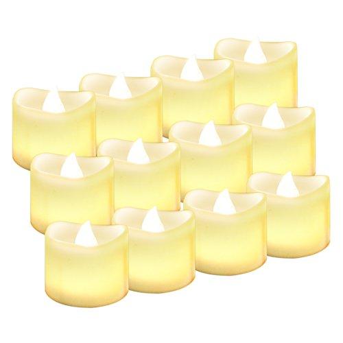 12 LED Kerzen, Diyife® LED Flammenlose Tealights, Flackern Kerze Teelichter, elektrische Kerze Lichter Batterie Weihnachtskerzen Dekoration für Weihnachten, Weihnachtsbaum, Ostern, Hochzeit, Party