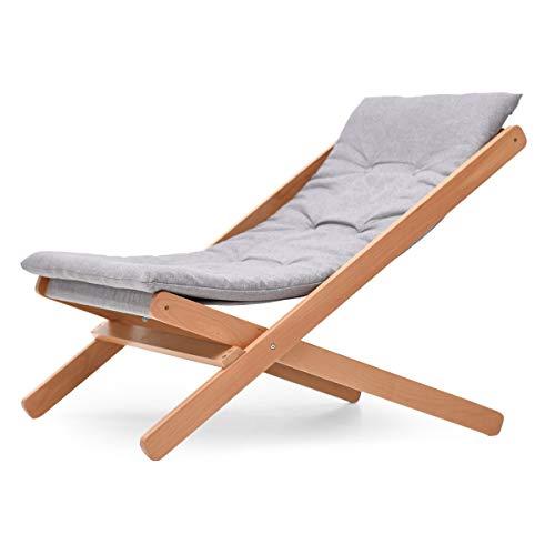 Fzw Chaise pliante en bois massif Chaise de détente (Couleur : Wood colour, taille : 90 * 60 * 78cm)
