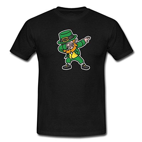 Spreadshirt Saint Patrick's Day Dabbing Leprechaun Männer T-Shirt, M, Schwarz