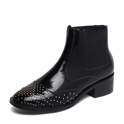 HOESCZS Chelsea Ankle Boots Damen Nieten Leder Booties Fashion Square Toe Schuhe Damen Thick Heels Schuhe Damen Herbst 6 Schwarz (Square Black Boots Toe)