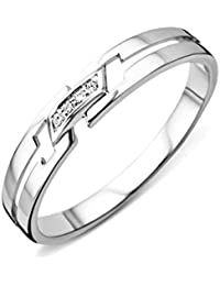 Miore - Bague Femme - Or Blanc 9 Cts 375 1000 - Diamant 6ff00121bee5