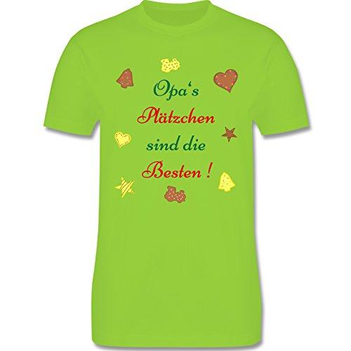 Weihnachten Geschenk für Erwachsene - Opa's Plätzchen sind die Besten Backen - L190 - Premium Männer Herren T-Shirt mit Rundhalsausschnitt Hellgrün