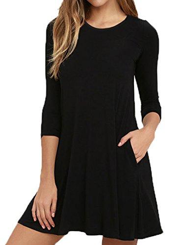 VIISHOW Herbst/Winter Damen Fashion Casual Kleid 3/4 Ärmel Mini Kleid (Schwarz M) (Mini-kleid Schwarzes)