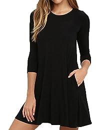 VIISHOW Damen Mini kleid Rundhals 3/4 Ärmel Stretch Basic Kleider