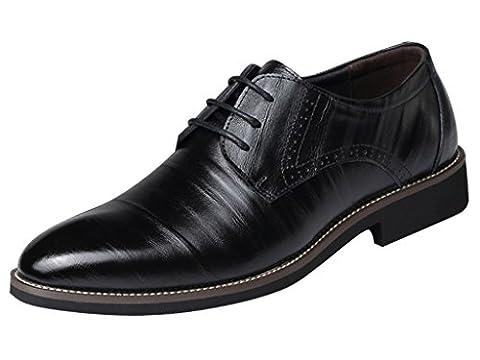 Eagsouni™ Herren Halbschuhe Derby Schnürhalbschuhe Leder Oxford Business Schuhe Schwarz EU 41.5 / CN (Leder Oxford Cap)