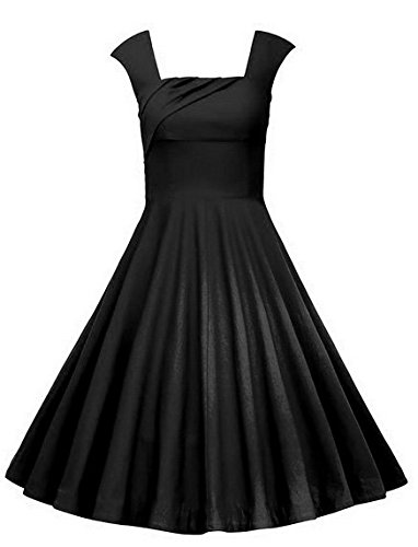 Oriention Damen 50er jahre Vintage Audrey Hepburn Rockabilly Party Cocktail Abendkleider Schwarz