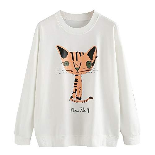 TWIFER Damen Rundhals Sweater Herbst Langarm Freizeithemd Blau Sweatshirt Fingerprint ()