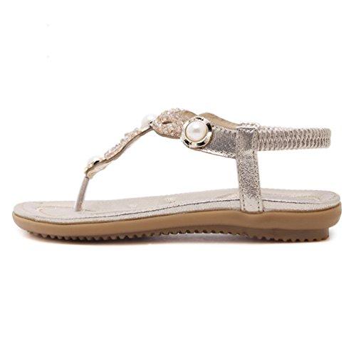 YoungSoul Tongs pour femme - Sandales plates en cuir PU ornées de perles - Chaussure de plage dété à entredoigt Or