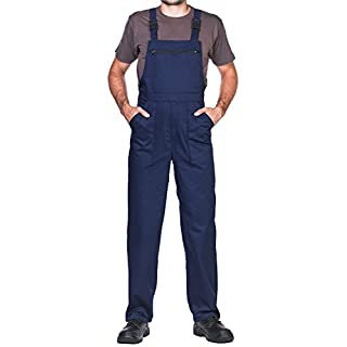 Bib and brace overalls, red, S-3XL size, great quality for the price ... (L, Navy)
