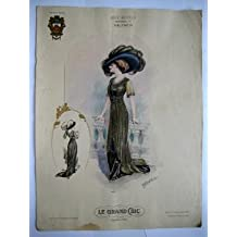 Gran lámina moda señora - Plate : MODELO TAFETÁN NEGRO Y PASAMANERIA.