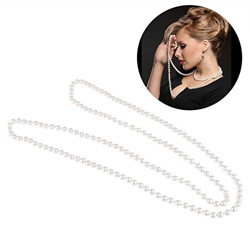 Unterschied Zwischen Modeschmuck Und Modeschmuck (OULII Perlenkette Gefälschte Perlen Halskette Retro Perlen Halskette Kette für Mitbringsel Kostüm)