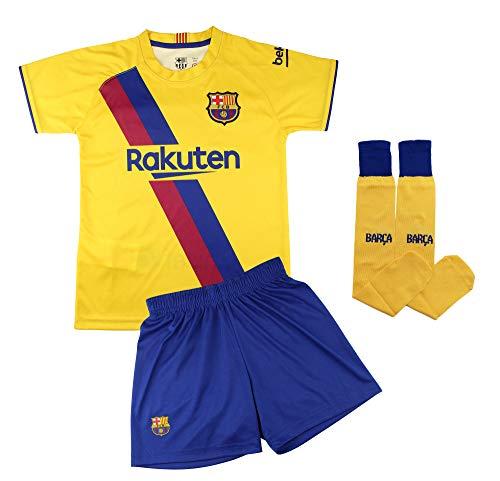 Champion's City Conjunto Complet Infantil FC Barcelona Réplica Oficial Licenciado de la Segunda Equipación Temporada 2019-2020 Dorsal Liso