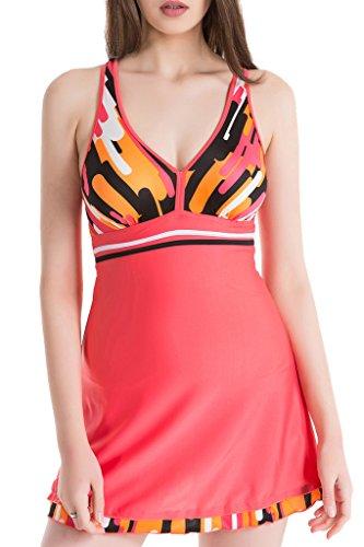 Trendiger V-Ausschnitt Badeanzug Einteiliges Rückenfreies Badekleid mit Bein - Bauchweg Bademode